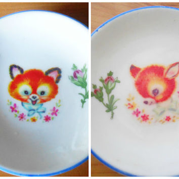 OOAK Deer and Fox Little Trinket Dish- Floral Upcycled Plate- China- Fawn Bambi- Miniature Dolls House Plate Gift for Display- Retro