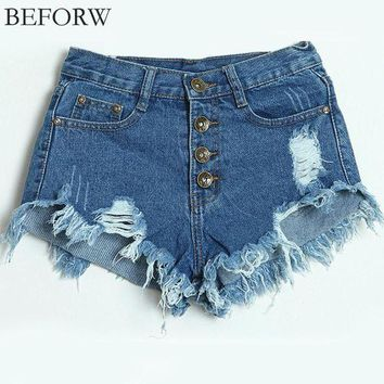 ESBONRZ BEFORW 2017 Summer New Women Shorts Plus Size Women Clothing Denim Shorts Ruffle Fashion Wild High Waist Blue Vintage Shorts