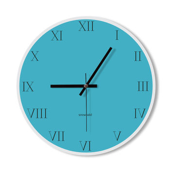 Wall Clock roman number clock home decoration wall art modern blue simple clock bedroom living room office clock