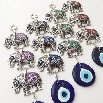 Evil eye wall hanging, elephant charm wall decor, elephant wall decal, evil eye wall decor