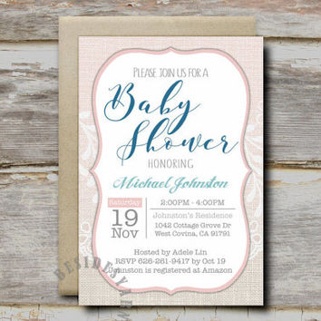 Burlap and Lace Party Invitation Printable with Blush Pink Accent, Baby Bridal Shower Birthday Party, Rustic Wedding Invitation, 4x6 Card