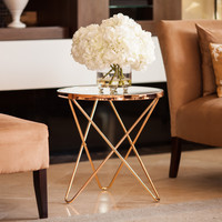 Danya B™ Tetra Clear Glasstop Round End Table with Rose Gold Metal Frame | Overstock.com Shopping - The Best Deals on Coffee, Sofa & End Tables