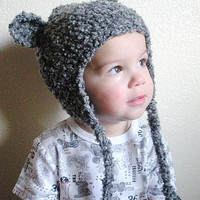 Grey Bear crochet hat for toddler or child in dark gray boucle with earflaps, unisex, MADE TO ORDER.
