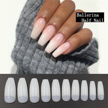 Hot Sell Professional 500pcs Nature False Nails Long Ballerina Half French Acrylic Nail Tips Square Head Fake Nails Art Tips