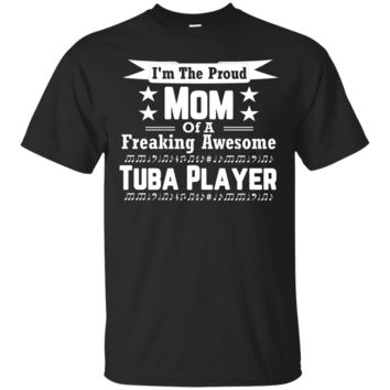 Proud Mom Awesome Tuba Player Marching Band Shirt_Black