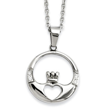 Stainless Steel Claddagh with CZs Pendant Necklace SRN886
