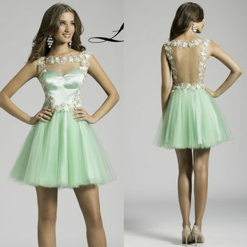 2016 Sexy Applique Tulle Backless A Line V Neck Women Fancy Short Elegant Summer Cocktail Party Dresses Dress