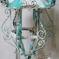 Vintage candle lanterns wall hanging reclaimed distressed sea foam and white home decor anita spero