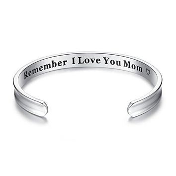 Milamiya For Mothers Day Gifts  Remember I Love You Mom Cuff Bangle Bracelets from Mom and Daughter Birthdays