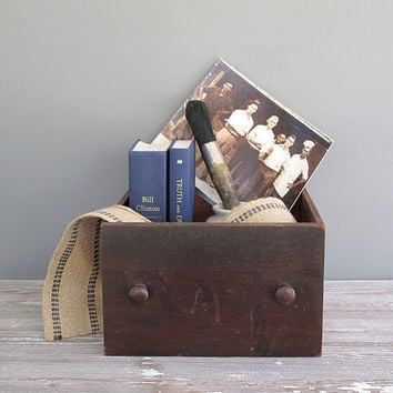 vintage wood drawer storage box by KatyBitsandPieces on Etsy