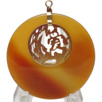 14K Yellow Gold Translucent Agate Pendant