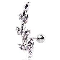 Surgical Steel Multi CZ Leaf Cartilage/Tragus Earring
