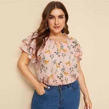 Plus Size Choker Neck Layered Ruffle Sleeve Botanical Top Blouse Women Casual Floral Print Cut Out Blouses