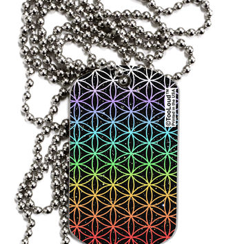 Chakra Colors Flower of Life Adult Dog Tag Chain Necklace