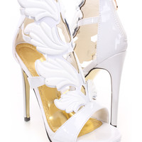 White Wing Accent Strappy Heels Faux Leather