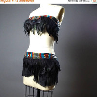 SUMMER SALE Festival Clothing - Burning man Clothing - Native American Inspired - Hippie - Festival Fashion - Feather Costume  - Rave