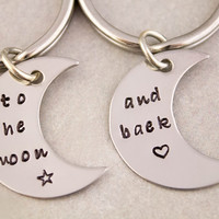 Love You To the Moon and Back Keychain   Couples Gift   Mother Daughter Gift   To the Moon and Back Keyring   Anniversary Gift   His and Her