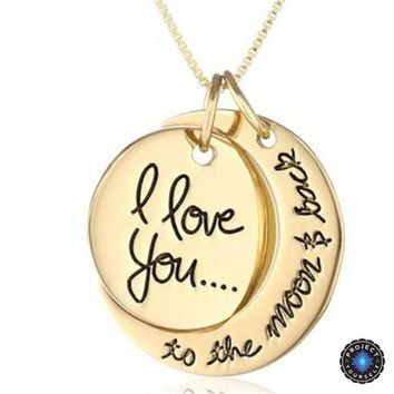 I Love You To The Moon And Back Sun and Moon Pendant Necklace