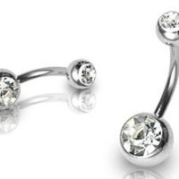 "Double Gem Belly Button Navel Ring 14 Gauge 7/16"" - CLEAR"