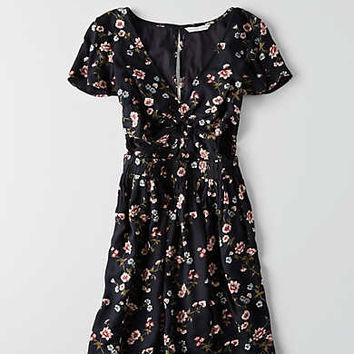 AEO Keyhole Fit & Flare Dress , Black