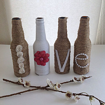 Twine wrapped love bottles, wedding decor, home decor, love, wrapped bottles