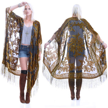 Sheer Silk Burnout Velvet Fringe Hippie Boho Gypsy MOSS Fall Kimono Jacket