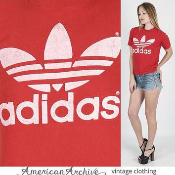 vintage 80s ADIDAS Trefoil Logo Soccer Track Jersey Red Soft Thin T Shirt M adidas t s