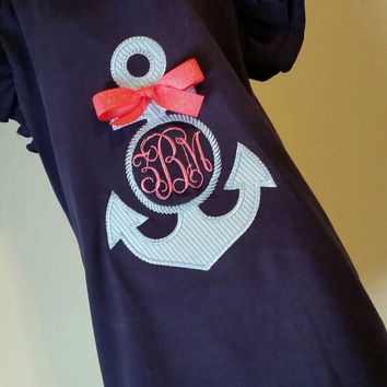 Girls navy flutter sleeve T- seersucker anchor applique'-  beach girls anchor- seersucker ribbon monogram- free shipping-limited quantities
