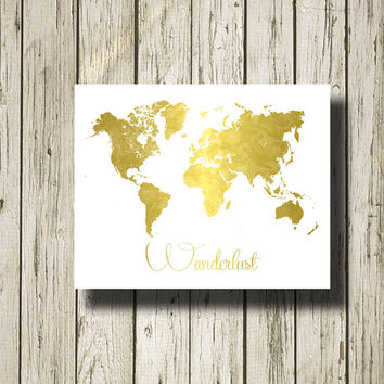World Map Wanderlust Golden Quotes Printable Instant Download Digital Art Print Wall Art Home Decor G168