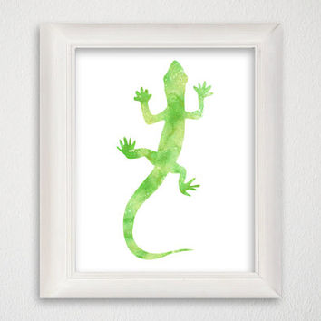 Gecko Art Print, Gecko Poster, Gecko Painting, Watercolor Gecko, Gecko Wall Decor, Gecko Wall Art, Animal Painting, Archival Print