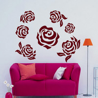Flower Wall Decals Many Roses Flowering Blossom Stickers Living Room Decor Vinyl Decal Sticker Art Spa Wall Decor Nursery Room Decor MR311