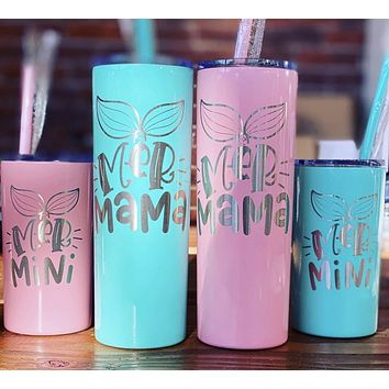 20 oz Engraved MerMama + 12 oz MerMini Skinny Straw Cups