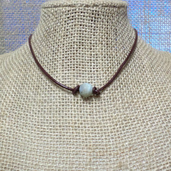 Colorful Matte Amazonite Semi-Precious Stone Genuine Leather Cord Choker Necklace Pearl Slip Knot Closure