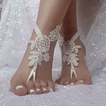 ivory lace silver frame lace barefoot sandal beach wedding barefoot sandal bridal barefoot sandals wedding dress accessories wedding shoe