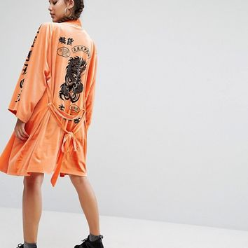 Jaded London Trophy Kimono In Velvet With Tattoo Patches Print at asos.com