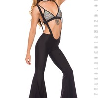 Good Vibes Suspender Flares in Black