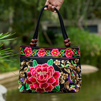 National Trend Chinese Style Women Handmade Flower Embroidered Canvas Embroidery Shoulder Bags