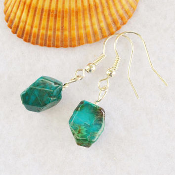 Chrysocolla earrings, blue green, minimalist earrings, natural chrysocolla, boho jewelry, gift for her, dangle earrings, healing jewelry