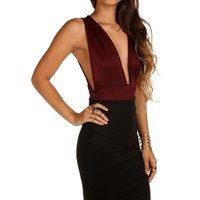 Sale-burgundy Ultra-deep Bodysuit