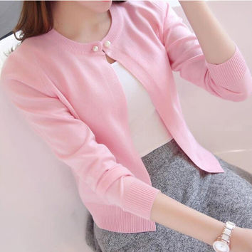 New Solid Color Fashion Women Sweater Female Cardigan Thin Outerwear 2016 Summer Short Design Sweater Long-sleeve Small Cape