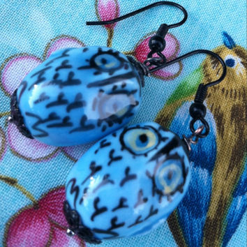 Blue Owl Earrings Cute Ceramic Birds Woodland Jewelry Glamping Bohemian Chic Style Camping Woods Forest Creatures Night Nature Festival Wear