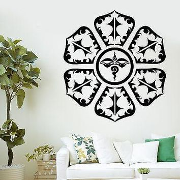 Wall Decal Buddha Eyes Om Mandala Mantra Chakra Buddhism Vinyl Sticker Unique Gift (z2875)