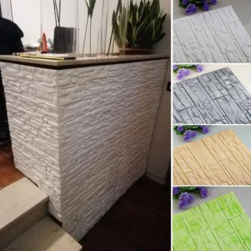 DIY 3D Stone Foam Wallpaper Panels Decal. Just peel the paper in the back and place on the wall!!! Kids Safety. Product Sizes :27x15 Inches or 23x12 Inches Per Piece