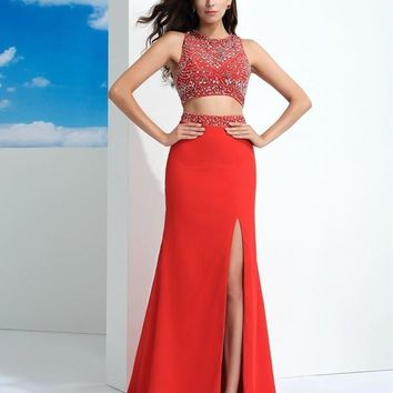 2016 Red Chiffon Mermaid Two Pieces Prom Dresses Long Crop Top Sleeves Slit Beaded Crystals 2 Pieces Prom Party Dresses