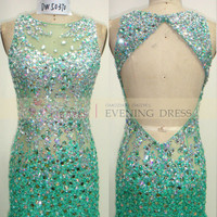 2015 Prom Dress Trends Backless Teal Mermaid Luxury crystal beaded LONG prom dress