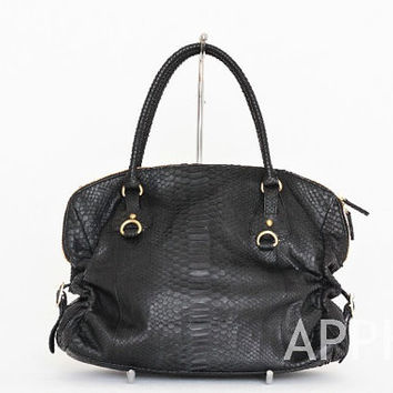 Pansy Genuine Exotic Python Leather Handbag in Black Color