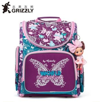 2017 New Girl School Bag Orthopedic Backpack for Children Cartoon Animal Butterfly Prints High Quality Waterproof nylon book Bag