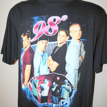 98 Degrees Because Of You Rare Vintage Hip Hop Style Rap Tee Classic 90's Boy Band Pop Music Concert T-Shirt