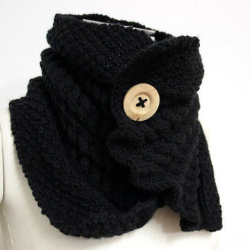 Black Chunky Cowl, Knit Buttoned Scarf, Hand Knit Cowl Scarf, Chunky Wool Cowl, Black Winter Scarf, Knit Neck Warmer, Cable Knit Cowl
