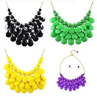 Statement Jewelry Bib Necklace Drop Shape Necklace Chunky Necklace(Fn0580)